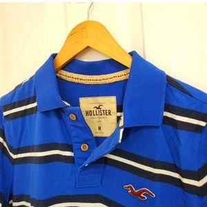 Hollister Blue Striped Polo Shirt